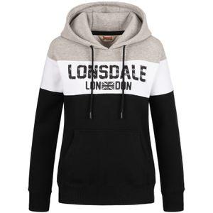 Lonsdale Damen Kapuzenpullover Penbryn, Farbe:black/white/marl grey, Größe:M