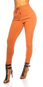 Sporty Business Hose im High Waist-Style, Farbe: Camel, Größe: L/XL