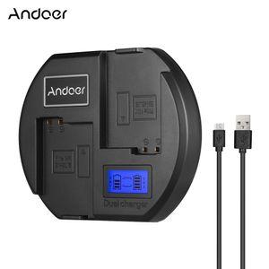 Andoer Fast Charger Zweikanaliges Kamera-Ladegeraet Digitale LCD-Anzeige USB-Eingang fuer Nikon EN-EL15 Akku fuer Nikon D750 D7200 D7100 D7000 D610 D800 D810