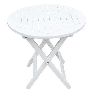Garden Pleasure Beistelltisch Garten Balkon Tisch Esstisch Eukalyptus Holz weiß