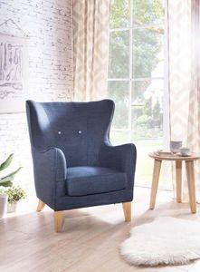 SalesFever Sessel Ohrensessel Stoffbezug Zierknöpfe Holz, Stoff L = 87 x B = 89 x H = 100 blau