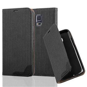 Cadorabo Hülle für Samsung Galaxy S5 / S5 NEO - Hülle in EBENHOLZ SCHWARZ - Handyhülle in Bast-Optik mit Kartenfach und Standfunktion - Case Cover Schutzhülle Etui Tasche Book Klapp Style