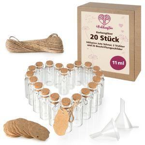 WeddingTree 20 x Reagenzglas mit Korken 11 ml - Kleine Glasflaschen mit Korken und Herz Anhänger - Als Gastgeschenk Hochzeit Deko Gewürzgläser