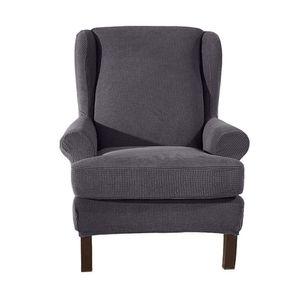 Ohrensessel Schonbezug Stretch Wing Back Sesselbezug Wingback Stuhlbezüge Sofabezug Sitzbezug,Grau
