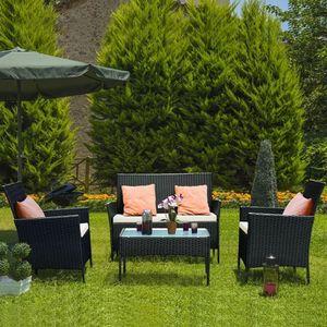 Bigzzia Rattan Gartenmöbel Set, Polytattan Lounge Gartenmöbel Set mit Sofa, Tisch & 2 Hockern, 2 * Sessel + 1 * Doppelsitz-Sofa + 1 * Tisch + 3 * Kissen, Schwarz