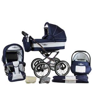 Bergsteiger Venedig Nostalgie / Retro Kinderwagen, 3-in-1 Kombikinderwagen, Megaset 10-teilig inkl. Babyschale, Babywanne, Sportwagen und Zubehör