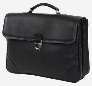 Casa Padrino Luxus Echtleder Aktentasche Schwarz / Silber 42 x 16 x H. 29 cm - Herren Laptoptasche aus hochwertigem Leder - Luxus Herren Accessoires