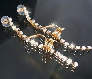 Ohrringe lang Ohrhänger Gold pl. Schmuck Strass Damen Braut O1844