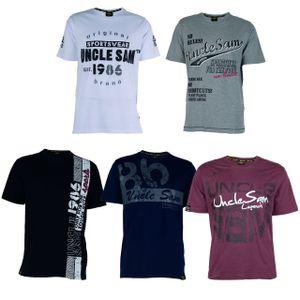 UNCLE SAM Herren T-Shirt Bordeaux, Grau, Schwarz, Blau oder Weiß, Größe:XL, Farbe:Weiß