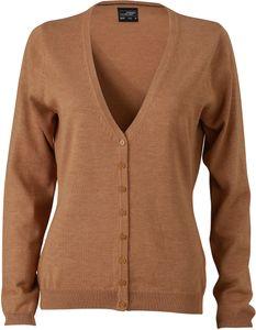 JN660 Damencardigan Strickjacke Damen Cardigan V-Neck , Größe:XL, Farbe:RED