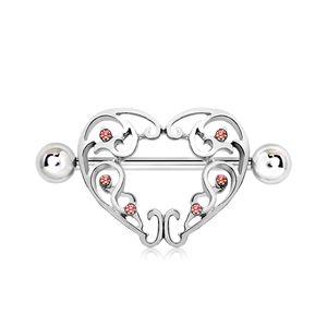Stahl - Nipple Shield - Herz - Ornamente
