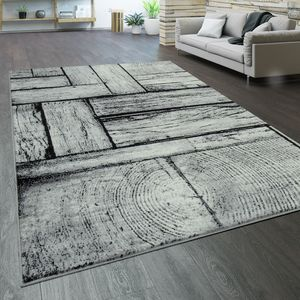 Teppich Wohnzimmer Kurzflor Holz Optik Modern Vintage Grau Schwarz, Grösse:160x220 cm