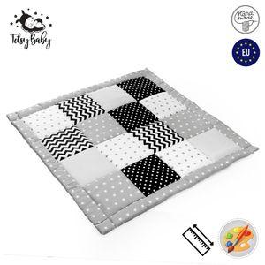 Krabbeldecke Patchwork Spieldecke Baby - Patchworkdecke als laufgittereinlage groß gepolstert 120x120 cm, Schwarz-Grau
