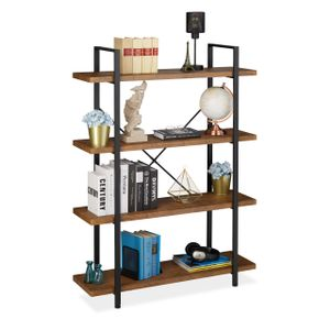 relaxdays Bücherregal Industrial mit 4 Ebenen