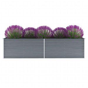 Garten-Hochbeet Hochbeet für Balkon und Garten Verzinkter Stahl 320x80x77 cm Grau