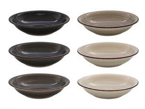 Teller tief 21cm Grey-Stone Steingut handgemalt - 6 Stück