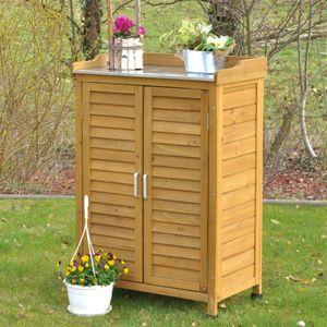 Holz Gartenschrank / Geräteschrank für Terrasse Garten Balkon 102 x 66 cm