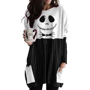 Damen Halloween Totenkopf Langarm Minikleid Tops Pullover Bluse Tunika Taschen,Farbe: Schwarz,Größe:XXL