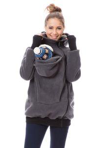 GFWL Tragejacke #Känguru Mama Baby Trage Jacke Allround Fleece GF2301XG in Graphit, Größe Damen EU:38 Medium