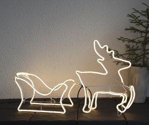 LED-Silhouette 'Neoled' Rentier/Schlitten - 720 warmweiße LED - H: 50cm - Outdoor Figur