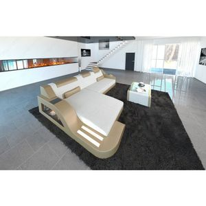 Stoffcouch Materialmix PALERMO L-Form LED