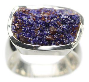 925er Silberring mit imposantem Azurit, Größe:Größe 56 (17.8 mm)