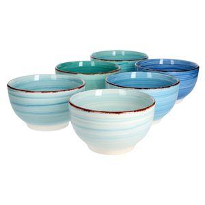 6er Schalen Set Blue Baita Blau Schüsseln Obst Müsli & Suppe Schälchen 650 ml Porzellan Geschirr