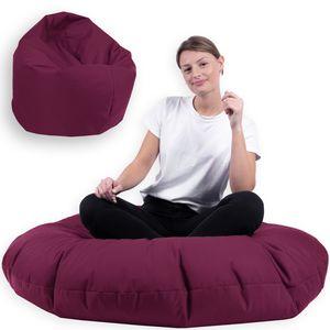 Sitzsack 2 in 1 mit Füllung Indoor Outdoor Sitzkissen 3 Größen Yoga Kissen BeanBag (100cm Durchmesser, Bordeaux)