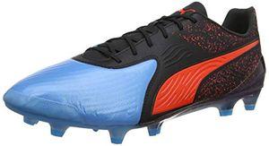 PUMA ONE 19.1 CC FG/AG Herren Low Boot Fußballschuhe Azurblau-Rot-Schwarz Schuhe, Größe:45