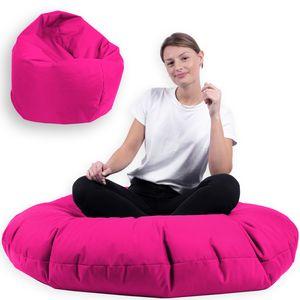 Sitzsack 2 in 1 mit Füllung Indoor Outdoor Sitzkissen 3 Größen Yoga Kissen BeanBag (100cm Durchmesser, Pink)