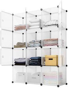 Regalsystem Kleiderschrank aus Kunststoff Steckregal Garderobenschrank weiß Schrank Ordnungssystem 12 Würfel