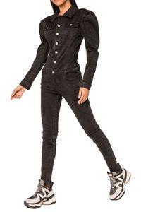 Damen Denim Jeans Anzug Overall Jumpsuit Hosenanzug Einteiler Playsuit Combi Blaumann, Farben:Schwarz, Größe:38