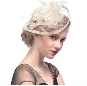 Fascinator Hut Feder Mesh Netz Schleier Party Hut Ascot Hüte Blume Derby Hut mit Clip und Stirnband für Frauen, E1-weiß