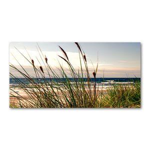 Tulup® Glas-Bild Wandbild aus Glas - 120x60  - Wandkunst - Wandbild hinter gehärtetem Sicherheitsglas - Dekorative Wand für Küche & Wohnzimmer - Landschaften - Küstendünen - Grün