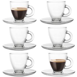 Espressogläser mit Griff und ovalen Untertassen Kaffeegläser 6 Sets Espressotassen Kaffeetasse