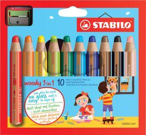 STABILO Multitalentstift woody 3 in 1 10er Karton Etui  inkl. Spitzer