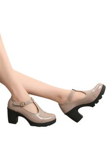 Abtel Damenschuhe Mit Dicken Absätzen Plateauschnallenschuhe Bequeme Einfarbige Freizeitschuhe,Farbe: Nude ,Größe:35