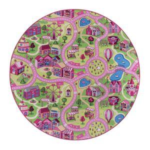 Straßenteppich Mädchen 200 cm Rund Kinderteppich Sweet Village Town Spielteppich