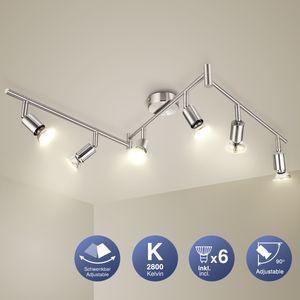 SCHIELE LED Deckenleuchte Schwenkbar 6 Flammig Strahler Deckenlampe inkl. 6 x 6W GU10 Warmweiß LED Leuchtmittel matt nickel Deckenstrahler Deckenspot