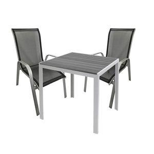 Gartengarnitur Sitzgarnitur 3-teilig 90x90cm Polywood Silber / Grau / Schwarz
