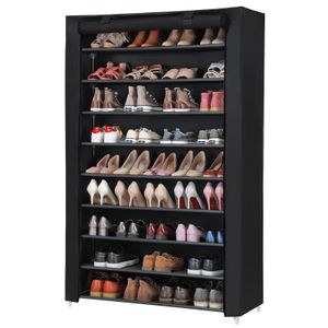 SONGMICS XXXL Schuhschrank mit 10 Ebenen | für 54 paar Schuhe 162 x 100 x 28 cm | Schuhregal Stoffschrank schwarz RXJ00H