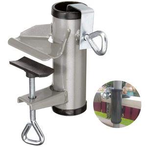 Hikeren Sonnenschirmhalter Klemme, Metall Balkonschirmhalter Schirmständer für Balkon, Terrasse oder Tischzaun Sonnenschirmklemme