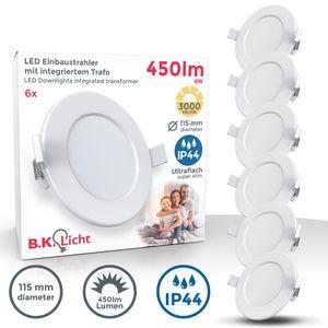 6er Set LED Bad Einbauleuchten Ultra Flach 30mm Ø115mm Weiß 6 x 6W LED Platinen 450 Lumen 3.000K Warmweiß IP44 Bad- Einbaustrahler B.K.Licht