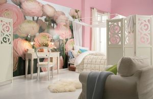 "Komar Fototapete ""Gentle Rosé"", rosa/grün, 368 x 254 cm"