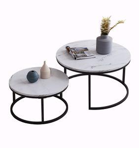 2er Set Couchtisch Beistelltisch , Rund Ø80cm & Ø60cm , Wohnzimmertisch Sofatisch Marmor Muster Holztisch Metallrahmen, Farbe Schwarz