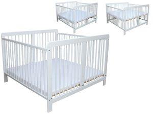 Zwillingsbett Zwillingskinderbett Kinderbett für Zwillinge massiv weiss mit 2 Matratzen 120x120cm