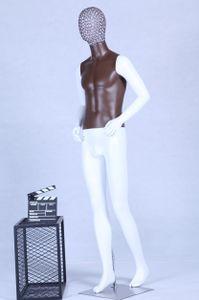 AB+101W Schaufensterpuppe weiß matt lackiert Brauner Brustkorb hochwertig Metallgitter Kopf mit Metallplatte Männlich Mann