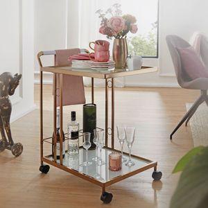 WOHNLING Design Servierwagen Gold 67x80x45 cm | Mobiler Beistelltisch | Speisewagen mit Glasplatte | Küchenwagen Milchglas | Teewagen | Mini Bar auf Rollen