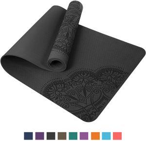 TOPLUS Pilatesmatte Gymnastikmatte,Yogamatte rutschfest aus TPE,Übungsmatte Sportmatte für Yoga,Pilates, Fitness- (183 x 61 x 0,6cm ), Schwarz-Grau