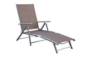 Deckchair, Aluminium- / Stahlgestell, 4-fach verstellbar, Taupe